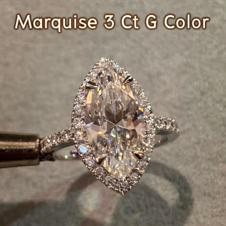 แหวนเพชรรูปมาคี ขนาด 3.10 กะรัต น้ำ97(G Color)